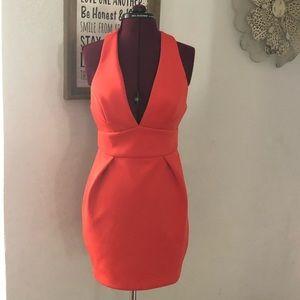 Asos Poly Elastane Bandage Wiggle Halter Dress